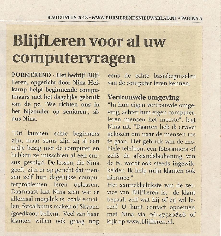 Purmerends Nieuwsblad over BlijfLeren