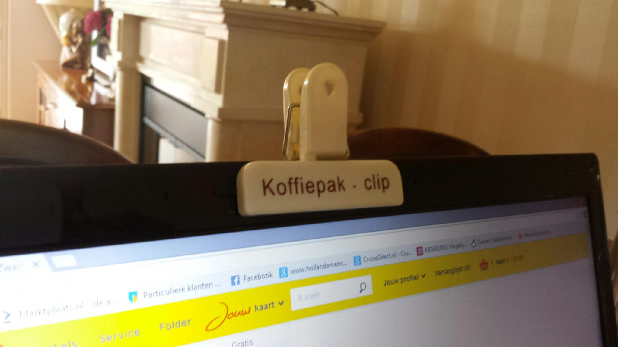 koffie clip voor je webcamera